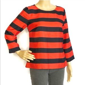 J.Crew Red and Navy Striped Keyhole Top